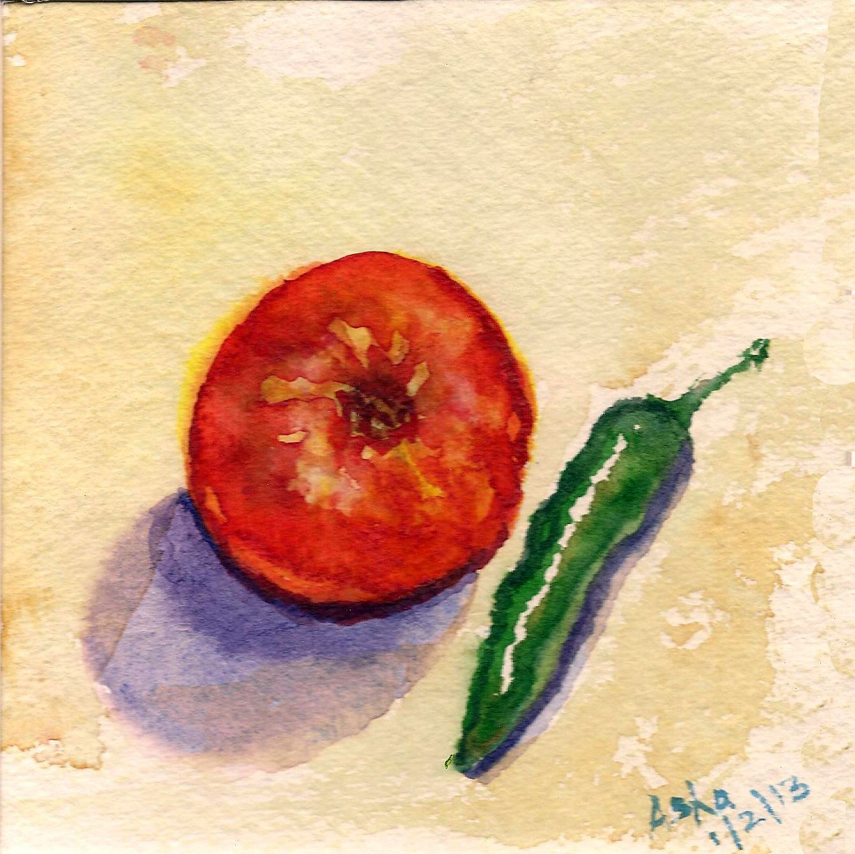 Bright Original painting Art Tomato Chili colorful Watercolor paper ...