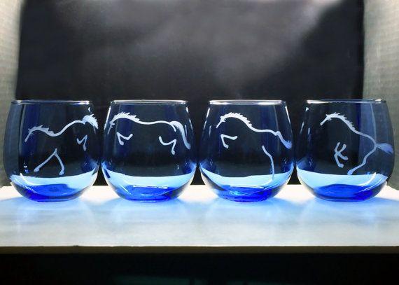 CHOOSE HORSE ART  4 Custom Etched Blue Stemless by HorseSportsArt, $36.00