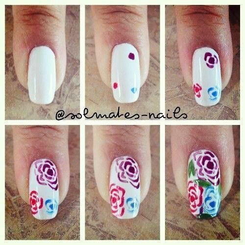 Roses nailart tutorial - Twitter / nagellakloverzz: Leuke stap voor stap rozen ...