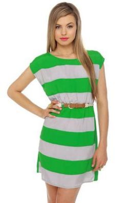 837df30bbf7 LuLu s Shipwrecked Green Striped Dress