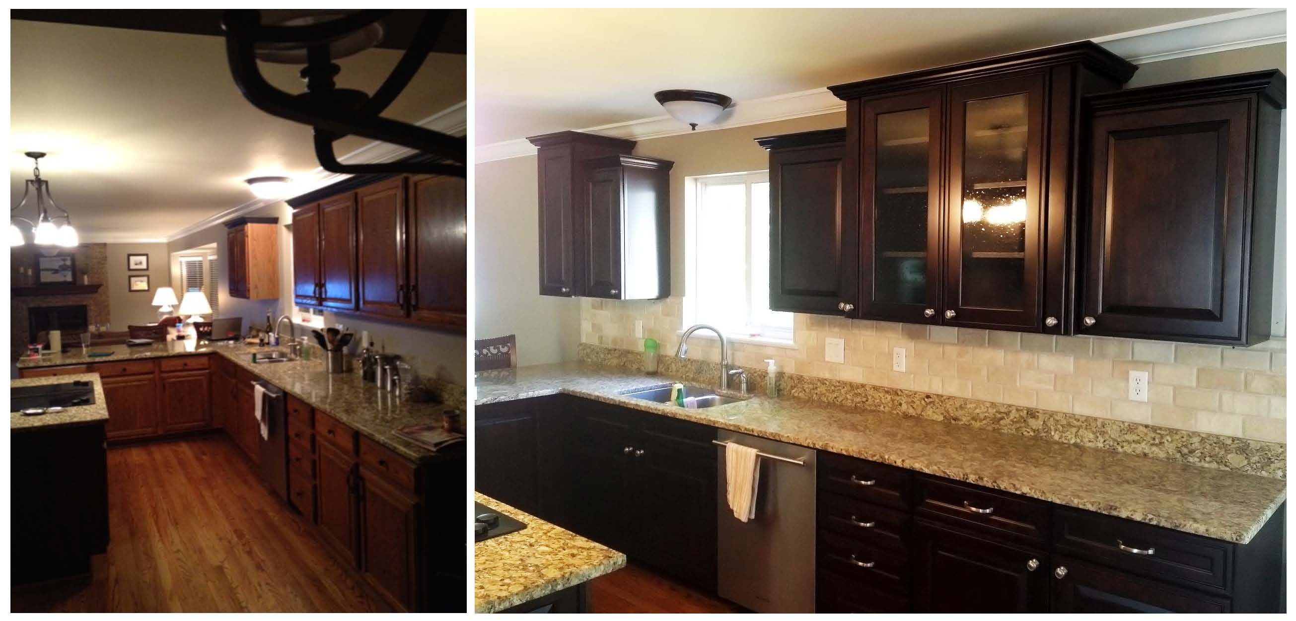What a difference new cabinets and a backsplash will make ...