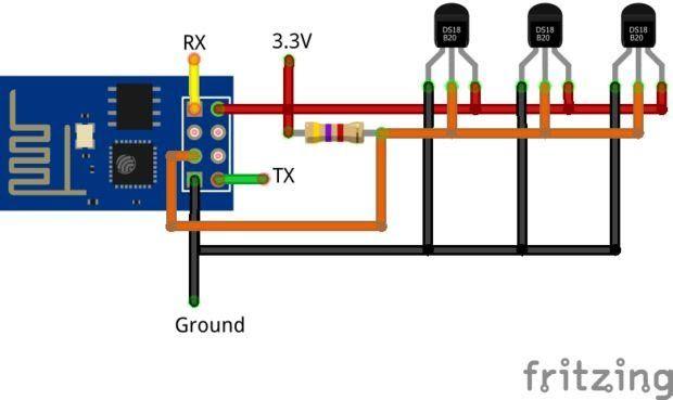 Simple Example Arduino Esp8266 Ds18b20 Electonics An Pc