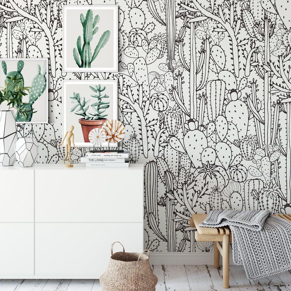 Cactus Wallpaper Botanical Black And White Southwestern Boho Etsy Removable Wallpaper Bedroom Removable Wallpaper Wall Colors