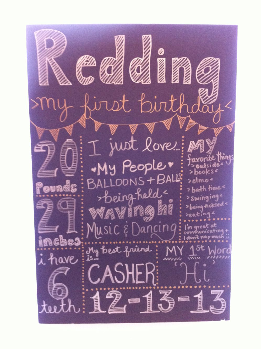 First birthday DIY sign. Black foam core from dollar store and metallic sharpies.