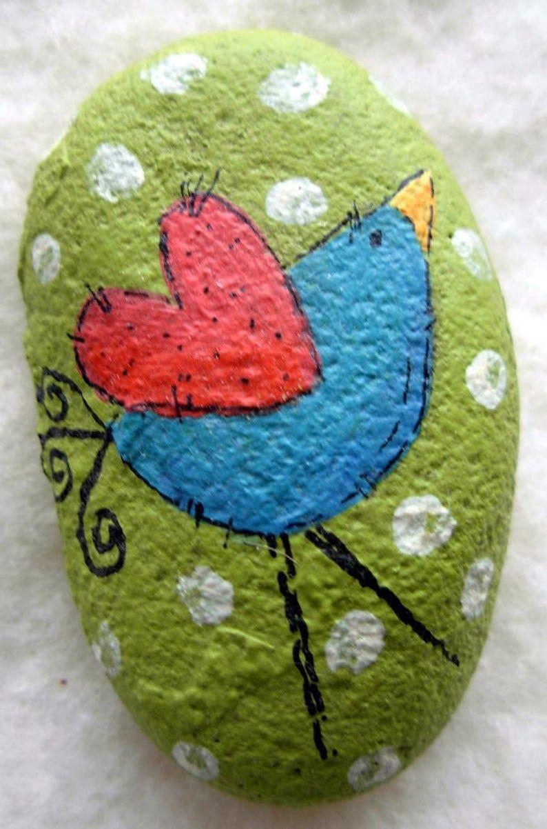 Items similar to Tiny Bird Garden Stone - Handpainted|Home Decor|Garden|Fairy Garden on Etsy