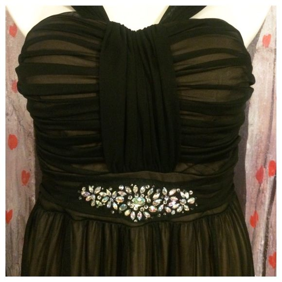 """Black Sheer Over Nude Evening Gown Beautifully waist-embellished gown in a black sheer overlay with a nude underlay fabric. Shirred bodice and back zipper. In excellent used condition. Was only worn once for a few hours. Measures 36"""" (lightly padded cups) bust 32"""" waist and 60"""" length. 100% polyester. Size 14 misses on the tag - I put a Large in the size above because 14 is not an option for ladies standard size. B.Smart Dresses Prom"""