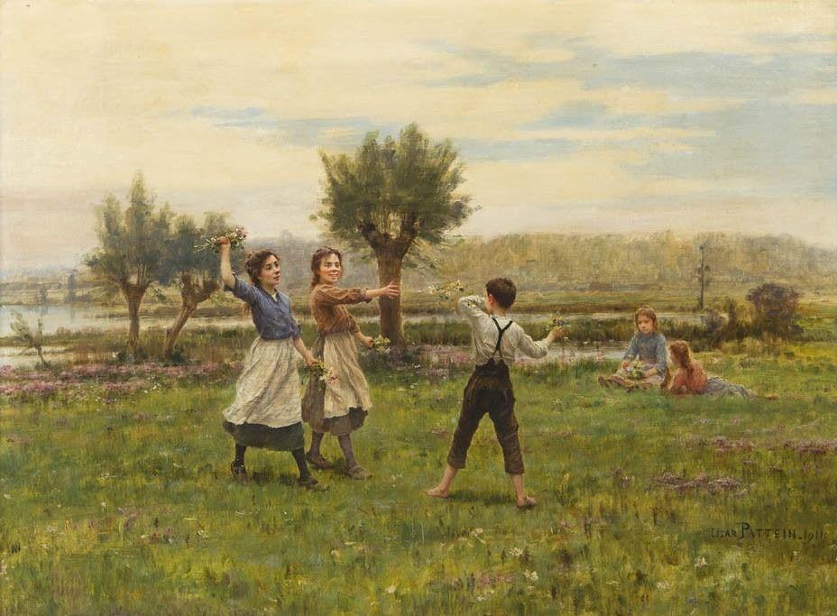 Cesar Pattein (1850 - 1931) - Flower Toss, 1911
