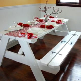 Refurbished Old Outdoor Picnic Table Now A Dining Room Table