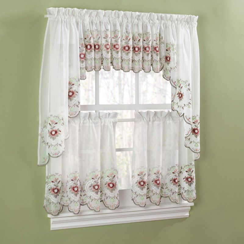 The Beautiful Gisela Rose Kitchen Curtains Features Embroidered Flo.