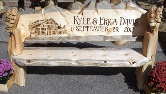 Enjoyable Log Benches For Wedding Carved And Woodburned Wedding Ibusinesslaw Wood Chair Design Ideas Ibusinesslaworg