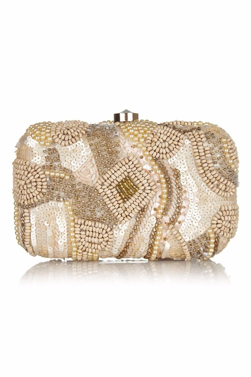 Vintage Inspired Pearl Handbeaded Bag in Blush | Flapper style ...