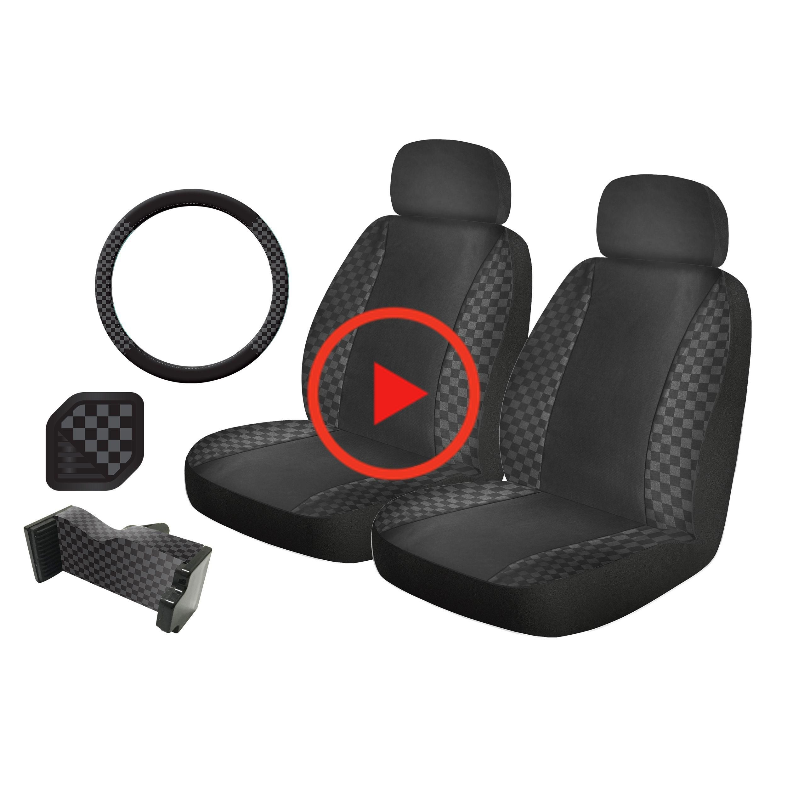 Auto Drive 5Piece Checkers Steering Wheel and Seat Cover