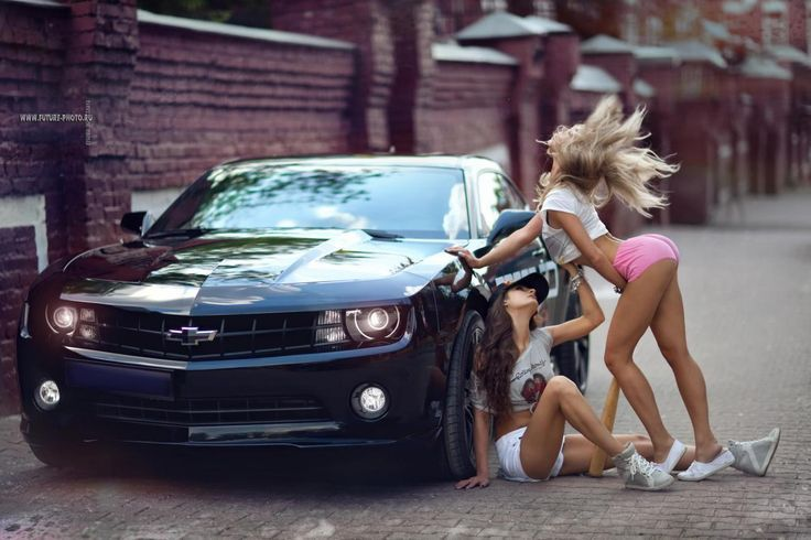 naked girl on chevy camaro