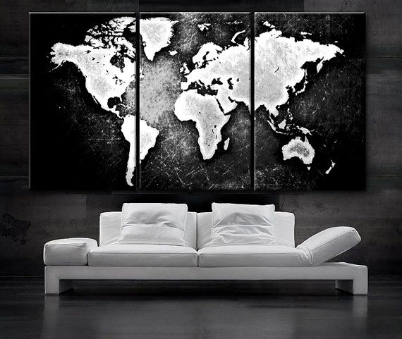 Large 30x 60 3 panels art canvas print world map black white large 3 panels art canvas print world map black white contrast wall home office decor interior included framed depth gumiabroncs Choice Image