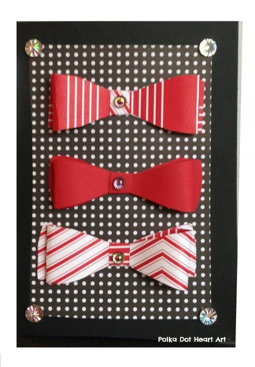 Handmade Paper Bow Tie Masculine Card.  Three Complimentary Red Bowties on a card perfect for the special man in your life.  This one was made for Valentine's Day but it is great for the Groomsman, Bachelor, Father's Day!  Created by Polka Dot Heart Art.