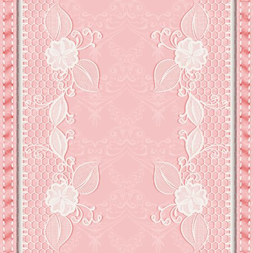 Pink Background With White Lace Vector Material 03