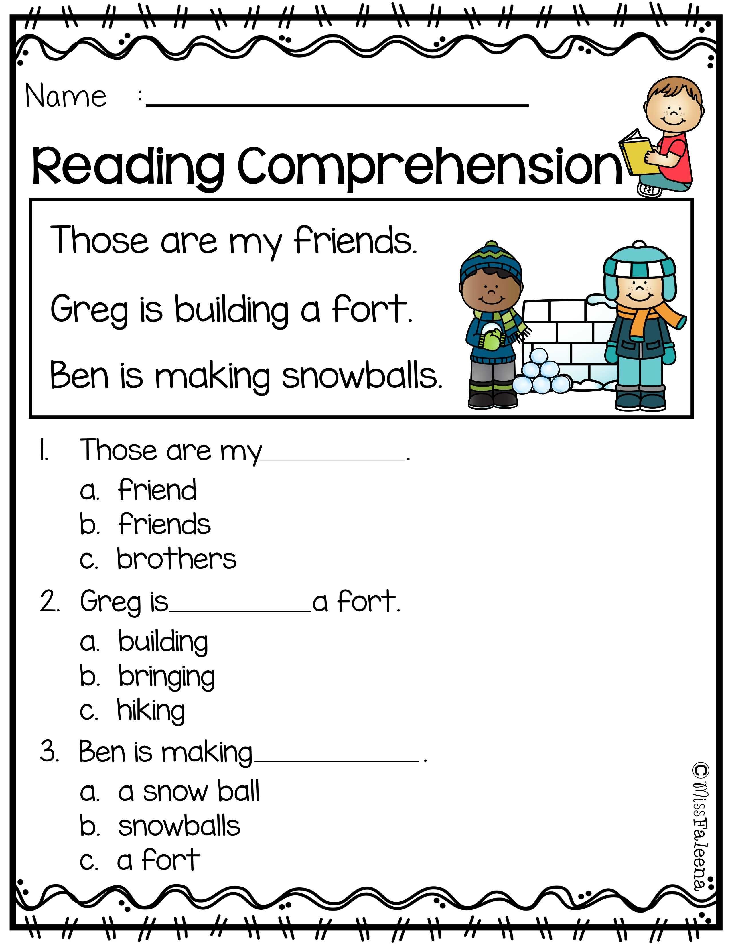Worksheets Sentence Comprehension Worksheets january reading comprehension worksheets comprehension