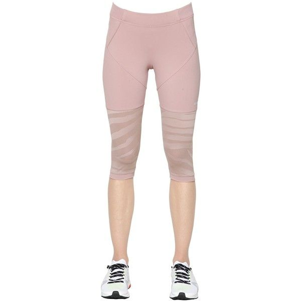 Adidas By Stella Mccartney Women Tight Fit Studio Zebra Mesh 3/4... (955 ARS) ❤ liked on Polyvore featuring activewear, activewear pants, adidas sportswear, adidas activewear and adidas