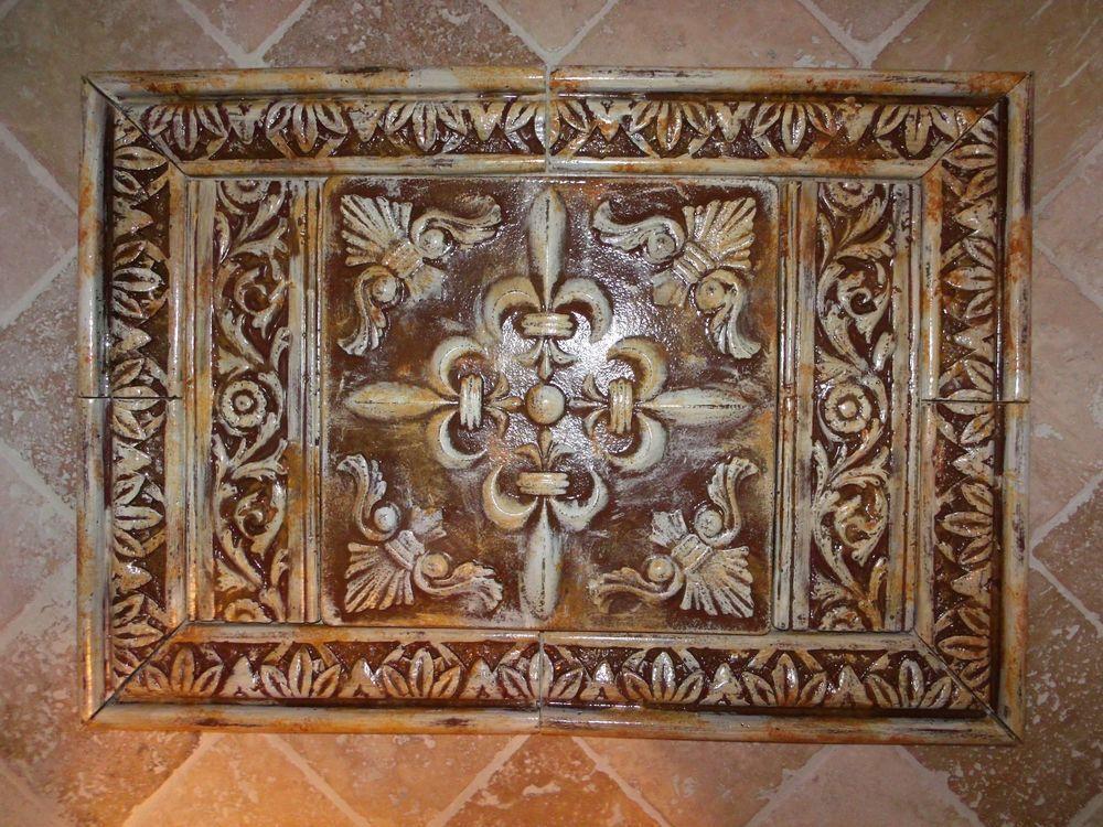 French Country Fleur de lis Medallion Cast Stone Backsplash Tiles Set #ItalianartCastStoneTiles #FrenchCountry