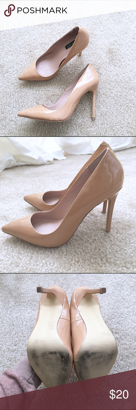 Shoemint nude patent heels Size 6.5 (runs small, fits 6). Worn about 5 times. In great condition. Patent leather. From shoemint Shoemint Shoes Heels