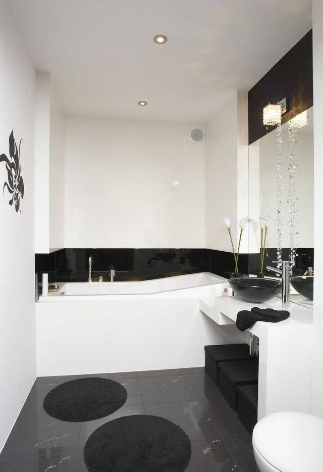 kleines bad gestalten farben ideen schwarz weiß graue bodenfliesen ...