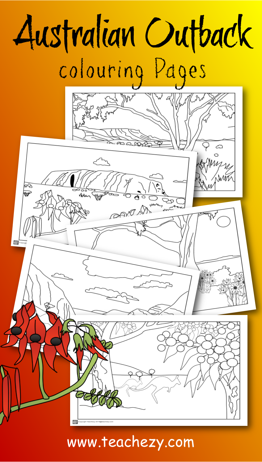 Kangaroo colouring page 2 - Australian Outback Colouring Pages Includes Uluru Macdonnell Ranges Flannel Flowers Sturt
