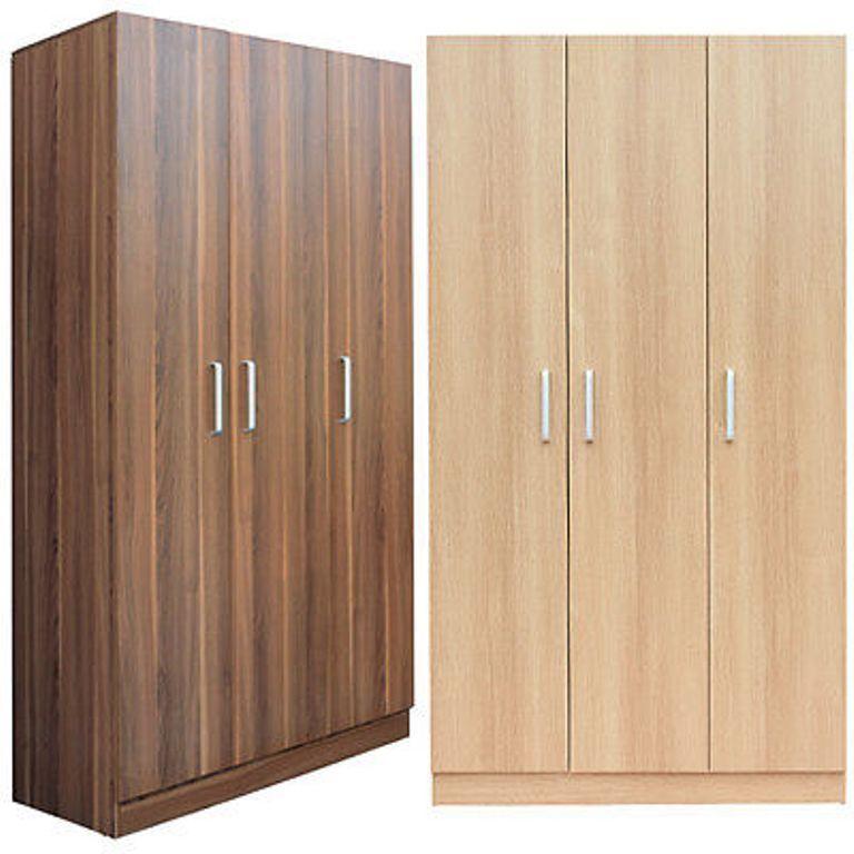Wardrobe Bedroom Furniture 3 Door Oak Or L. Walnut Effect