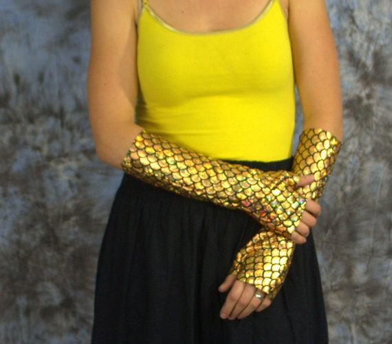 Mermaid Gloves-Gold gloves-Fingerless by dramatiquedesigns on Etsy