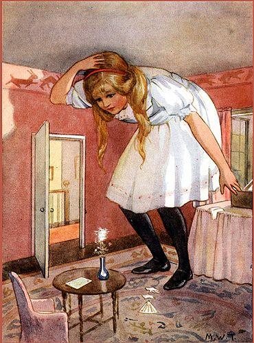 Alice In Wonderland Grown Big Vintage Illustration Treated Cotton Fabric Block