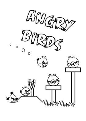 Coloring Page Of The Red Angry Birds Yellow Angry Bird And The