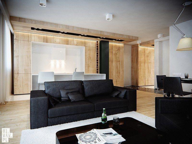 Revêtement Mural  Bois Clair Salon Moderne Canape Noir  #hometheateraccessories