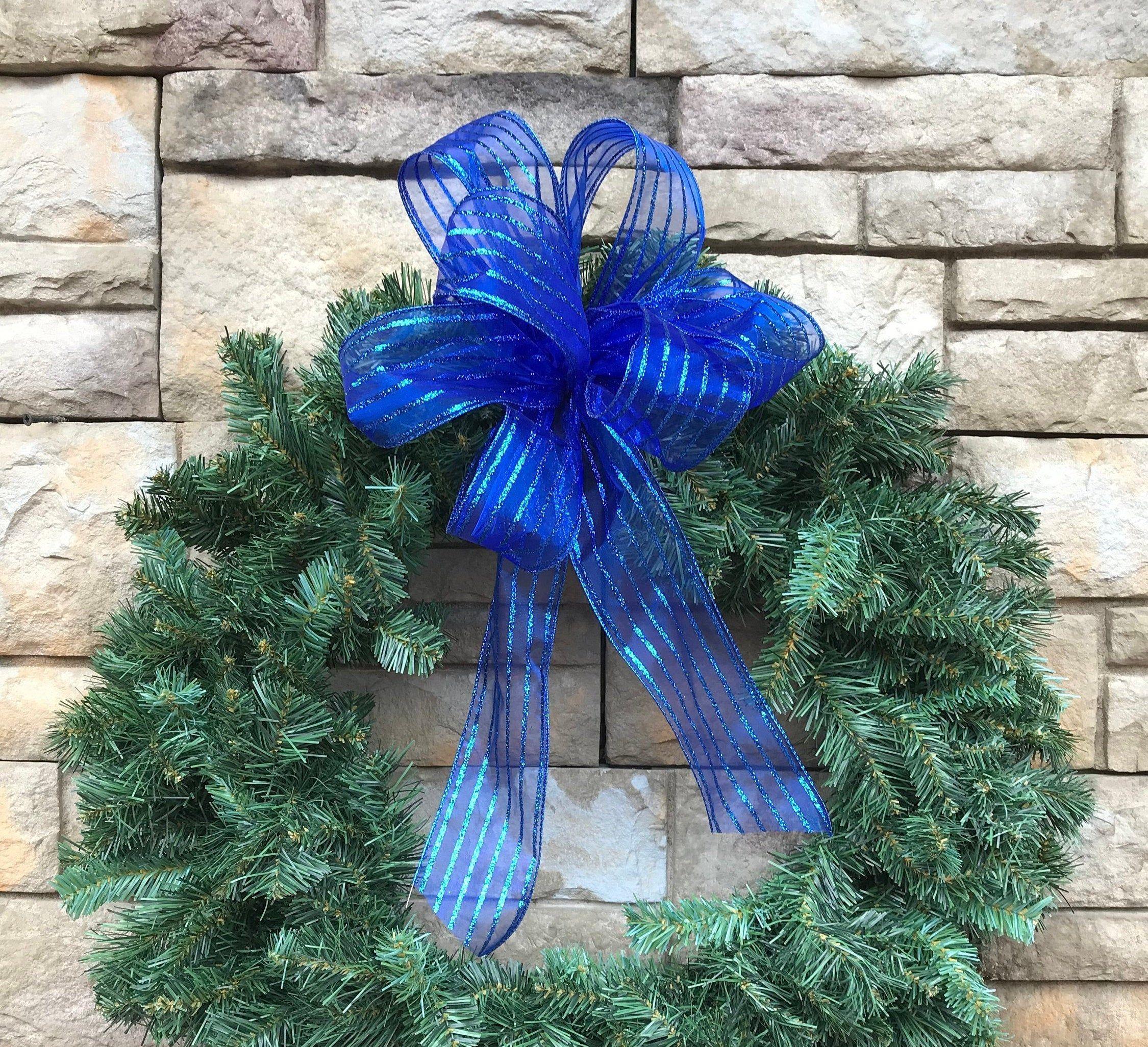 4 Large Sparkling Royal Blue Organza Christmas Bow Blue Wreath Ribbon Blue Christmas Bow Blue Christmas Decoration Royal Blue Organza Bow Blue Christmas Decor Blue Wreath Christmas Bows