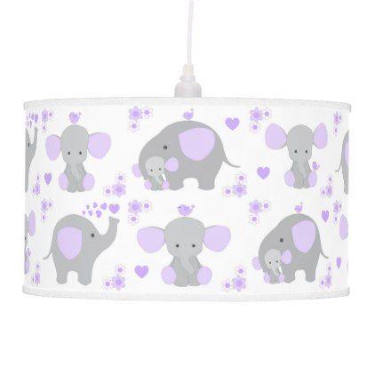 Elephant purple safari animal nursery baby girl ceiling lamp negle Image collections