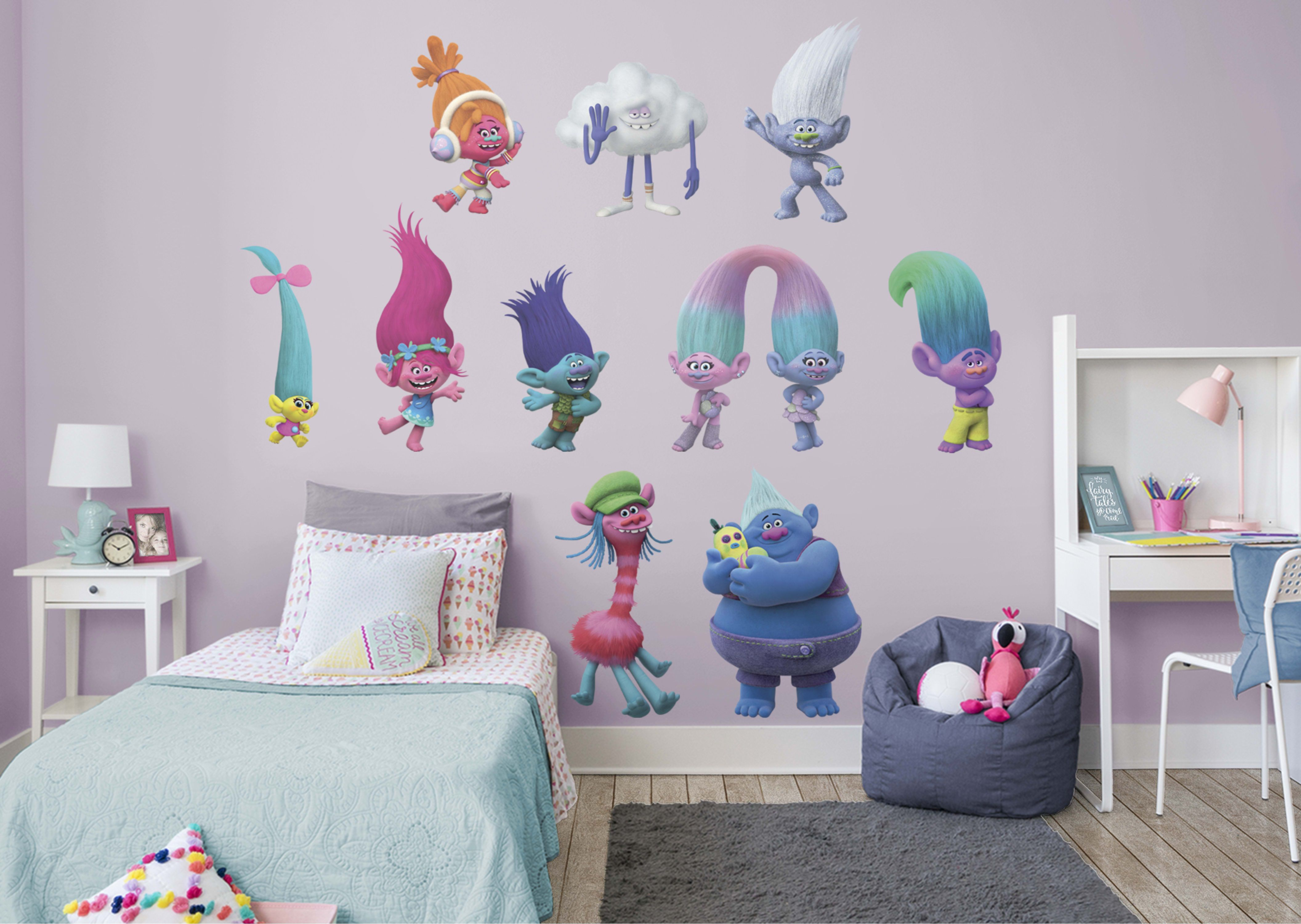 Trolls Movie Collection Fathead Wall Decal Big Kids Room Removable Wall Decals Girls Room Decor