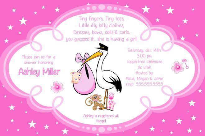 Girl Baby Shower Invitation Stork Baby Shower Pinterest