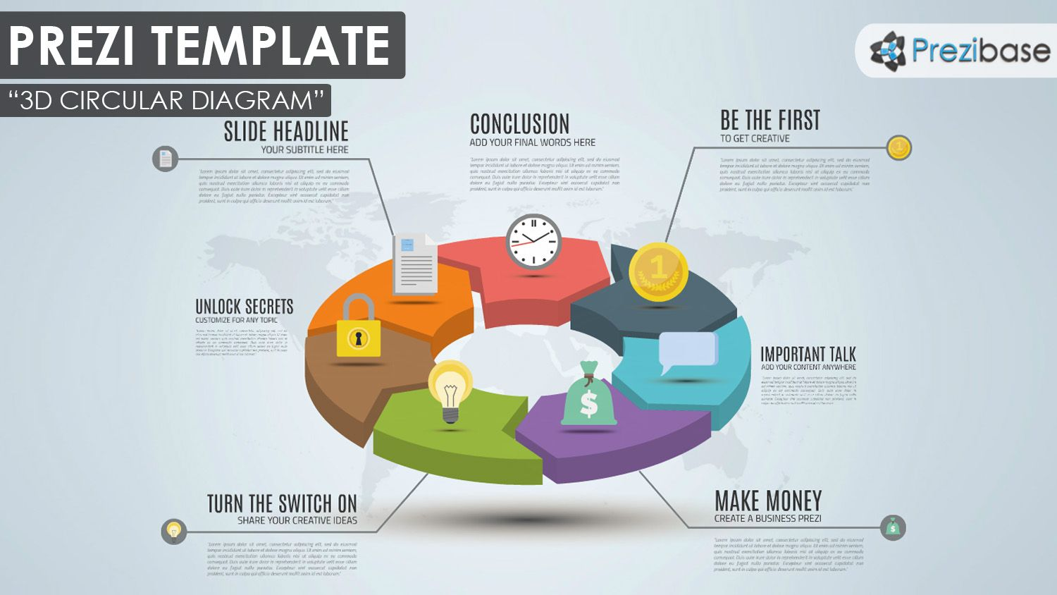 hight resolution of colorful and creative business 3d circular pie chart diagram prezi template for presentations