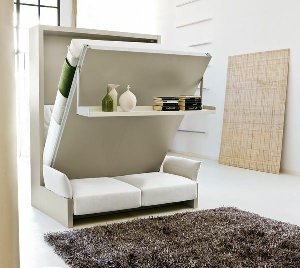 Folding Beds Transformed Into Sofa And Shelf Living Room
