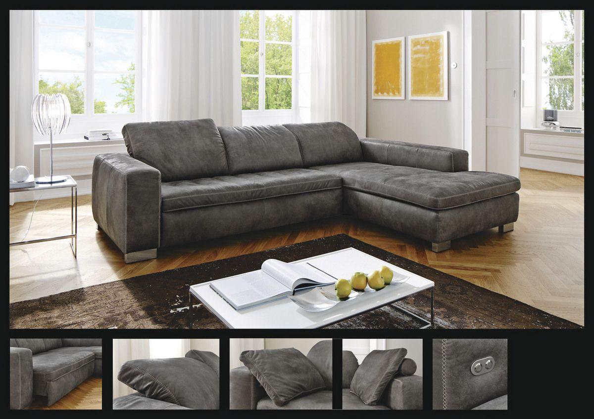garnitur lublin funktions polsterecke stoffbezug in antiklederoptik anthrazit mit kontrast. Black Bedroom Furniture Sets. Home Design Ideas
