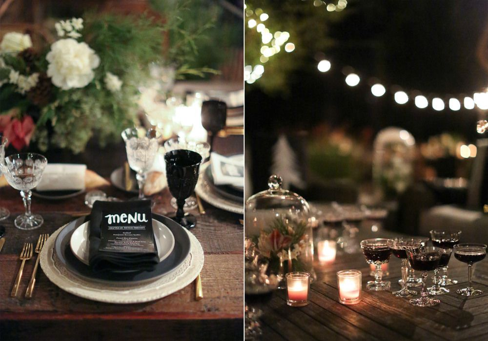 Tiffany Thieseen's black and white dinner. Photo by Elizabeth Messina. Dinnerware by Casa de Perrin.