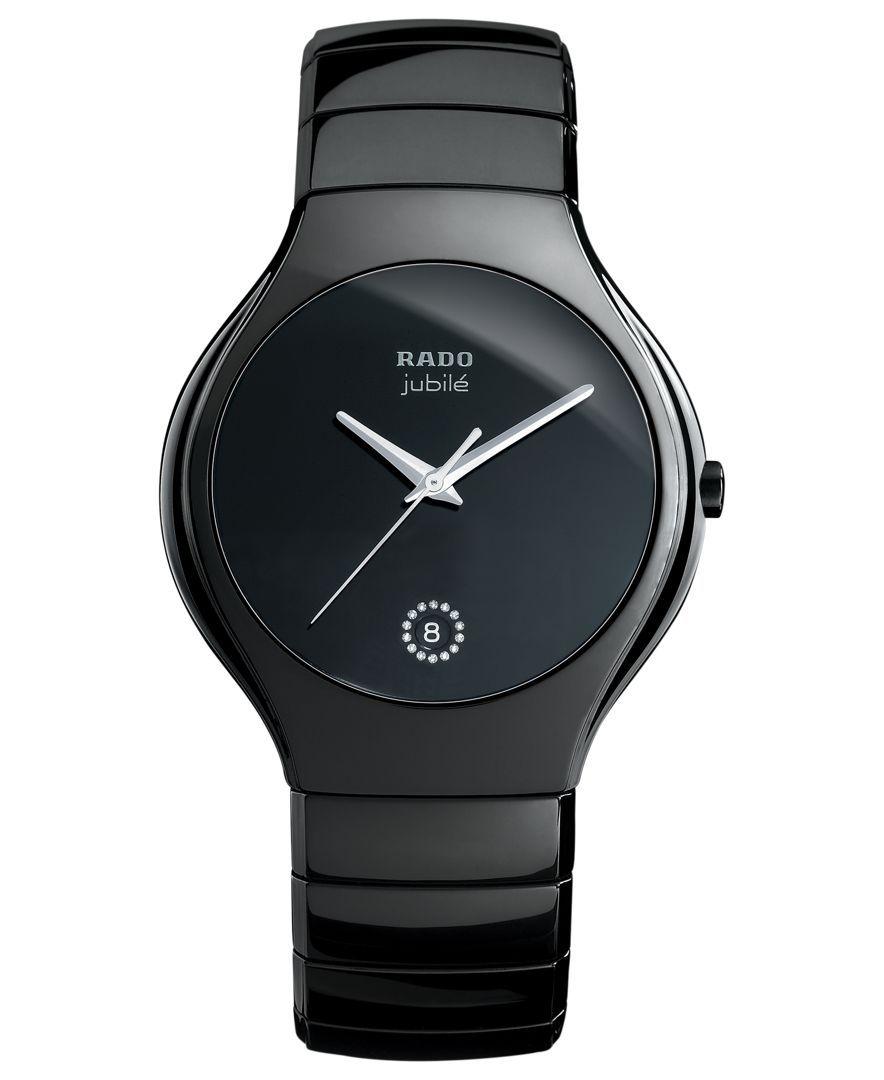 2ba31fbcf Rado Watch, Women's Swiss True Diamond Accent Black Ceramic Bracelet 40mm  R27653722
