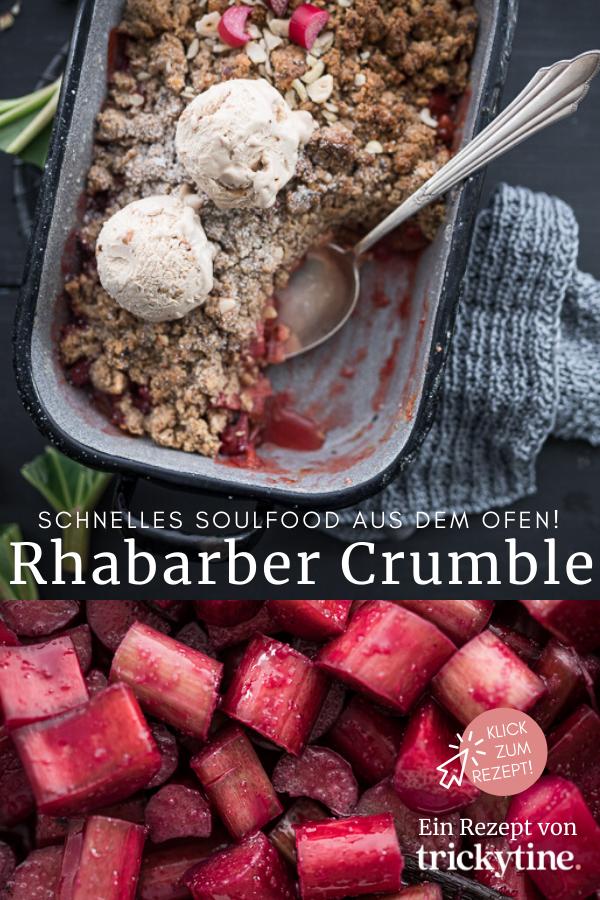 Rezept für Rhabarber Crumble mit Nuss Streuseln - tolles Soulfood aus dem Ofen!