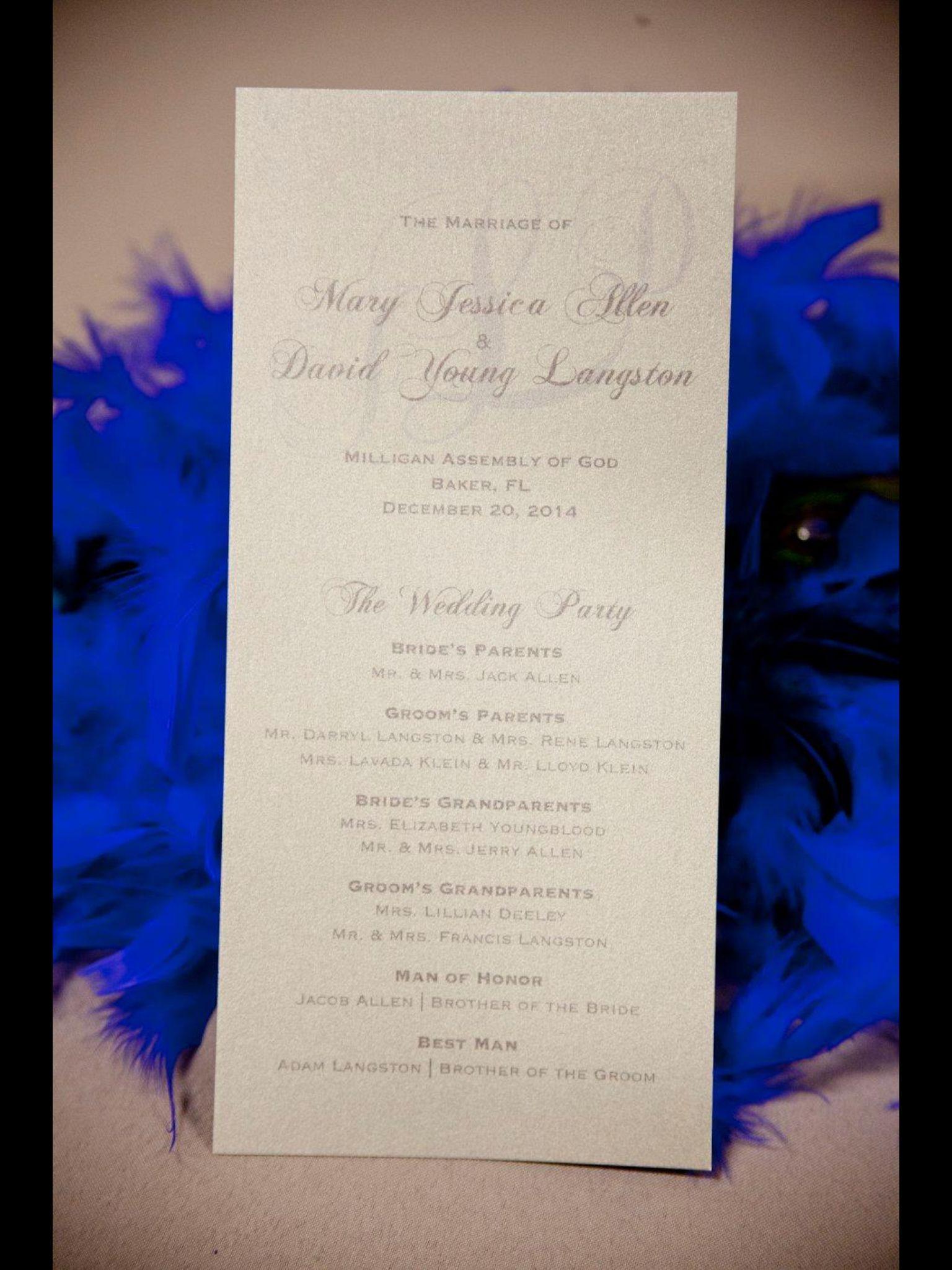 Wedding Program | Cobalt & Silver