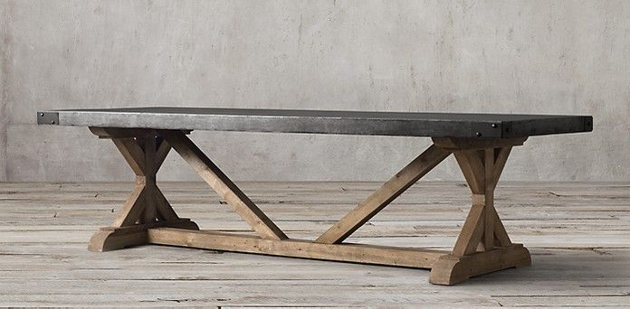 Salvaged Wood U0026 Concrete X Base | Restoration Hardware