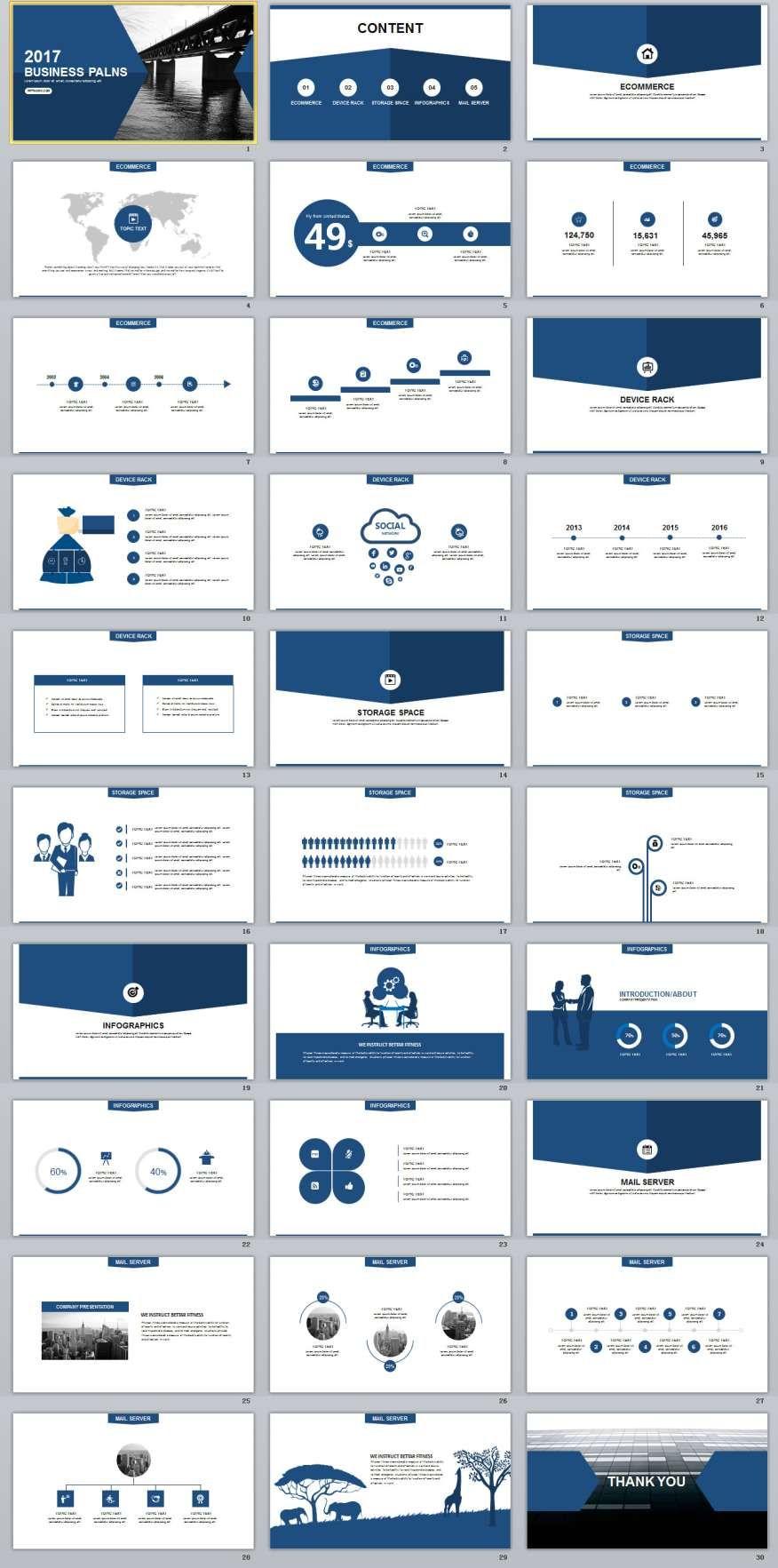 30 blue business plan powerpoint templates