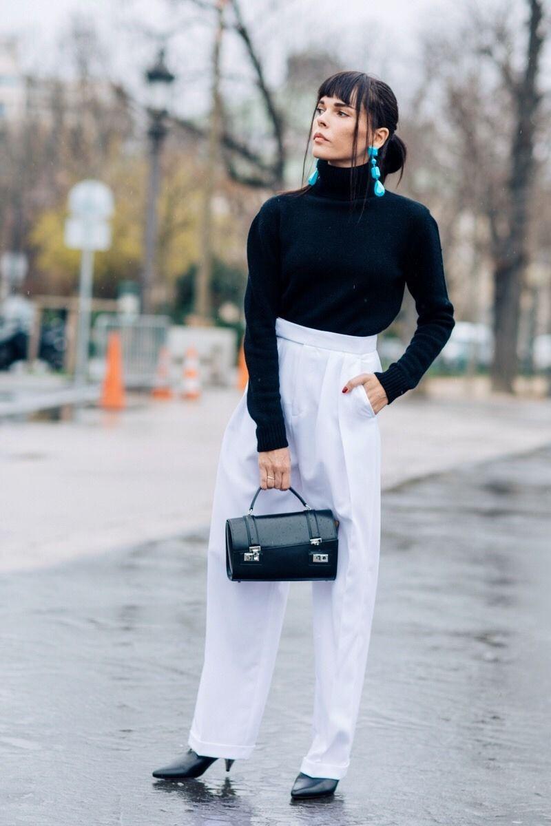 black turtleneck with white high waisted pants | Fashion