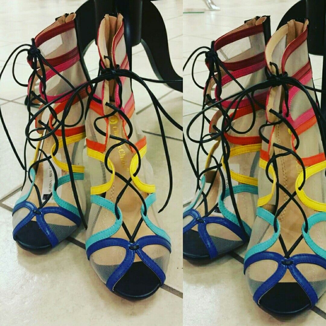 These are gorgeous!! Dramatic cross straps multi color high heel. Shop at Filetta's Couture Boutique for trendy heels at prices you'll love. Come check us out. www.filettas.com #heels #multicolorheels #highheels #shoes #localboutique #shopping