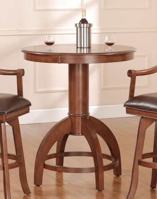 Hilale Palm Springs 36 Inch Round Bar Height Table In Brown Cherry 4185ptb