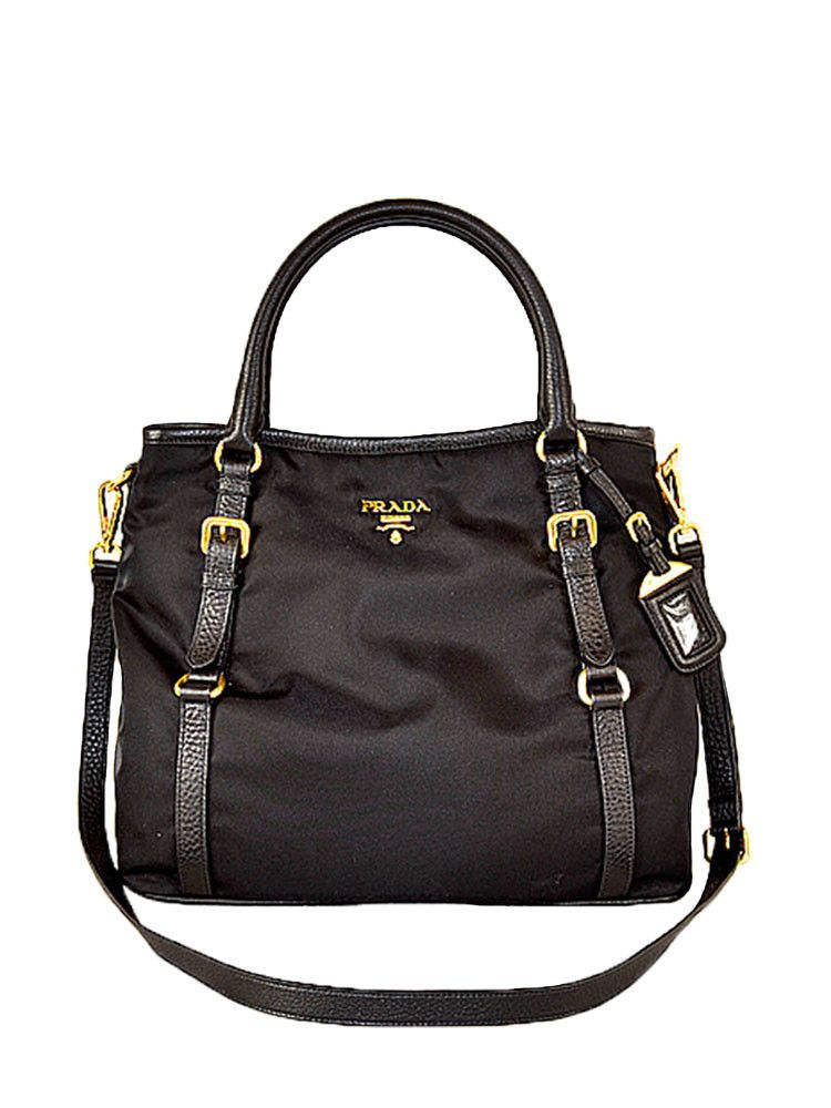 42b0f1c21d6914 PRADA TESSUTO VITELLO NERO BLACK NYLON CROSSBODY BAG TOTE SATCHEL PURSE  1841 http://