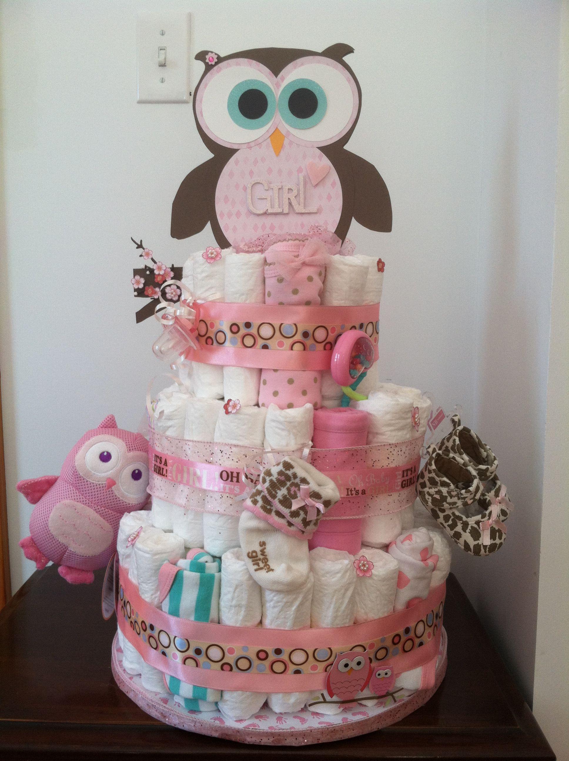 Owl Diaper Cake Adorable Owl Baby Shower Owl Baby Shower