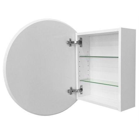 Cibo design 600mm white circle mirror cabinet mirror cabinetsbathroom
